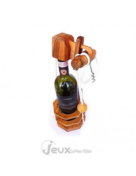 casse tête bouteille tire bouchon en bois
