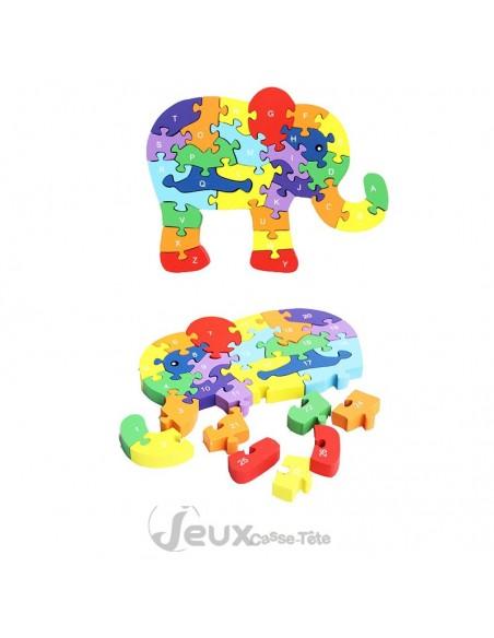 puzzle 3d éducatif éléphant Alphabet et nombres