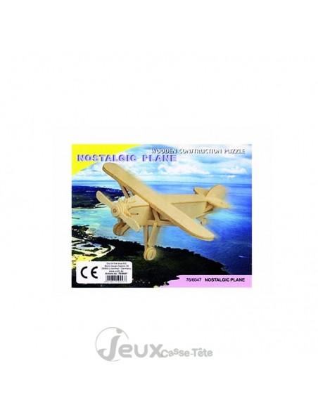 Puzzle 3d  en bois avion vintage