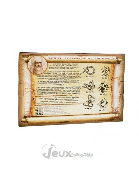 Coffret 6 casse-tête en bois et métal Série Leonard de Vinci