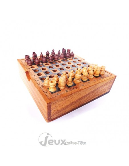 Jeu d'échecs de voyage en bois
