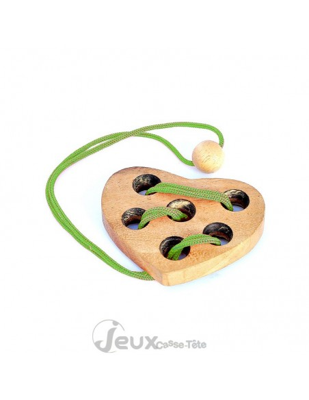 Casse-tête cœur en bois avec corde Leonardo's
