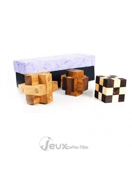 Coffret de 3 casse-tête en bois