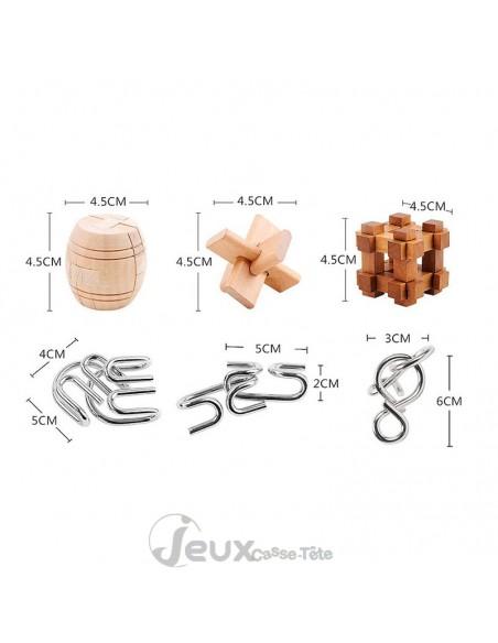 Coffret 6 casse-têtes bois et métal