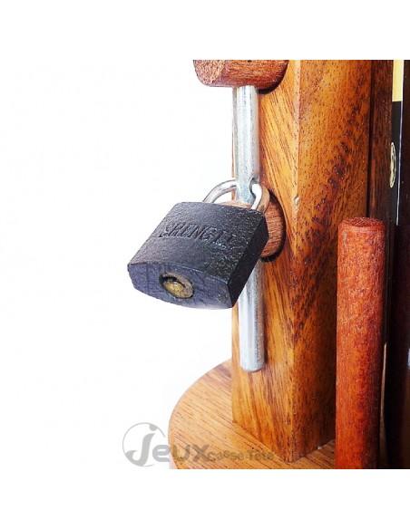 Casse-tête bouteille en bois cadenas