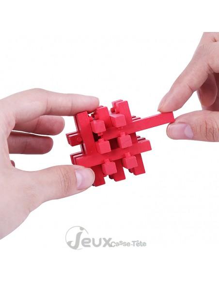 Casse-tête en bois mini urban lock rouge