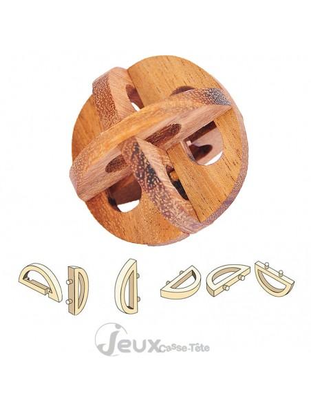 Casse tête en bois la roue Chinoise 6 pièces